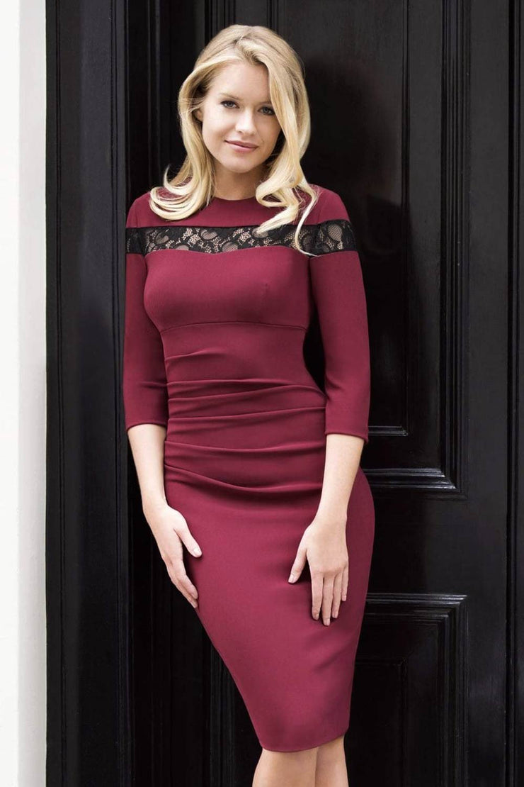 Model wearing the Diva Atlantis Pencil dress with three quarter length sleeves in cabaret burgundy and black front image