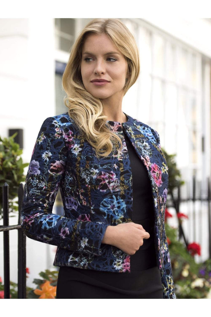 Model wearing the Diva Fresno Jacket in nightshade bloom print front image