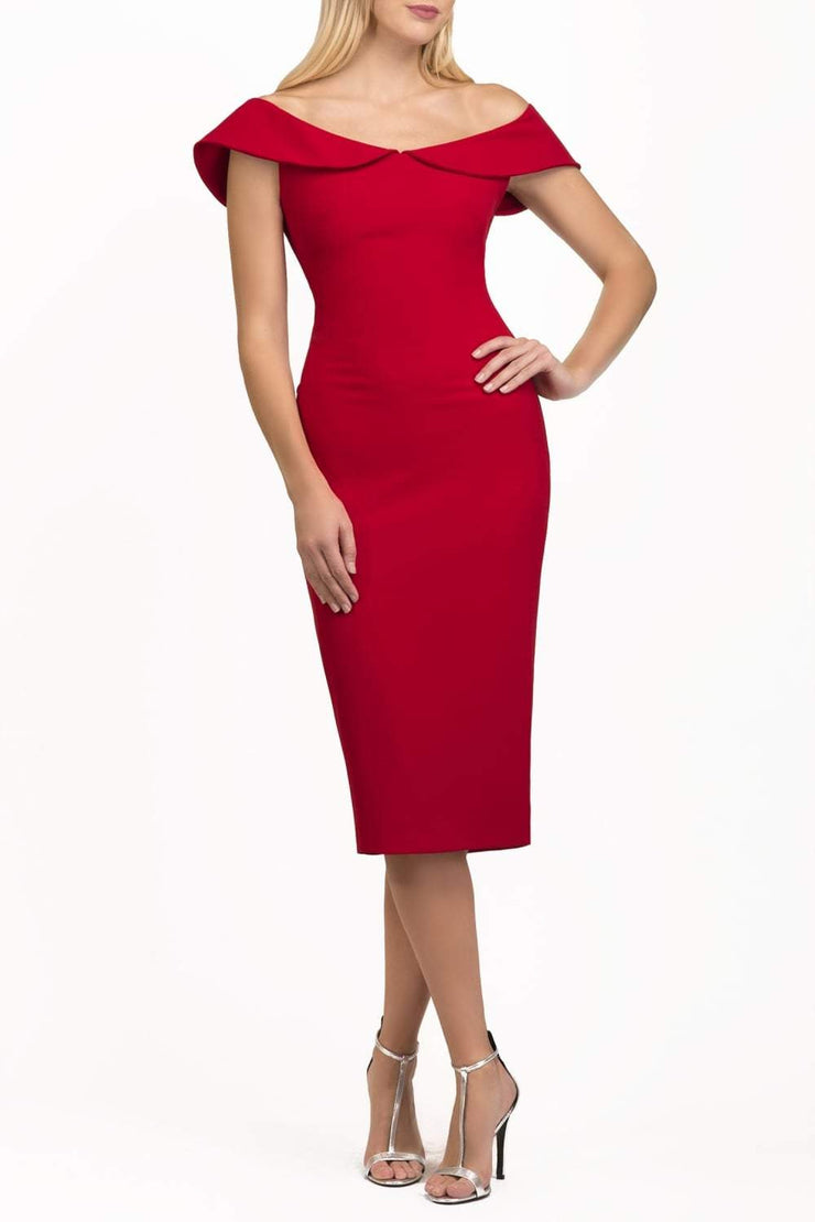 brunette model wearing diva catwalk juilet midaxi pencil sleeveless off shoulder dress with open neck and folded collar in colour scarlet red front