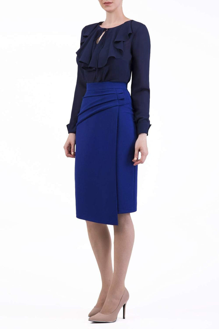 Model wearing the Diva Antibe Skirt knee length in oxford blue front image