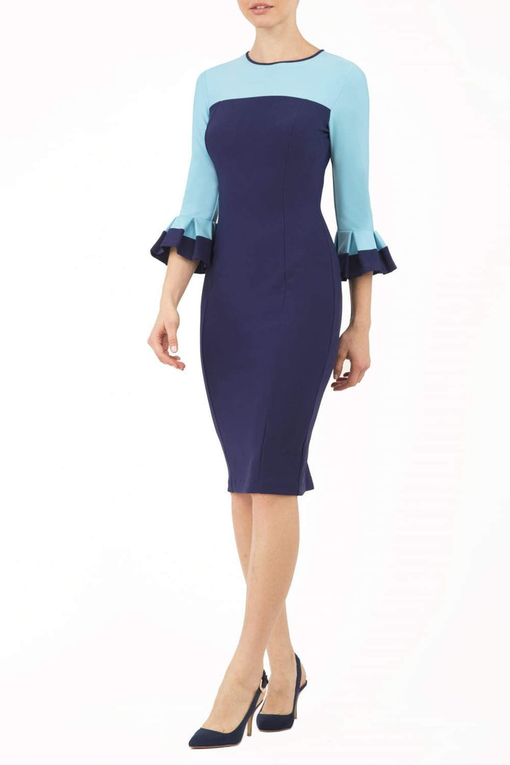 Model wearing the Diva Lyonia Pencil dress in pencil dress design in navy blue and sky blue front image