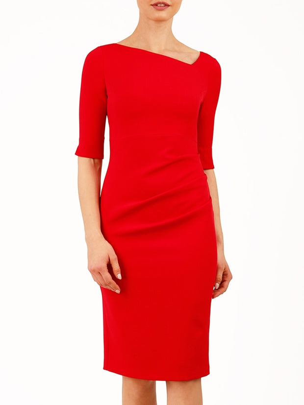 Assymetric neckline  red pencil dress by Diva Catwalk