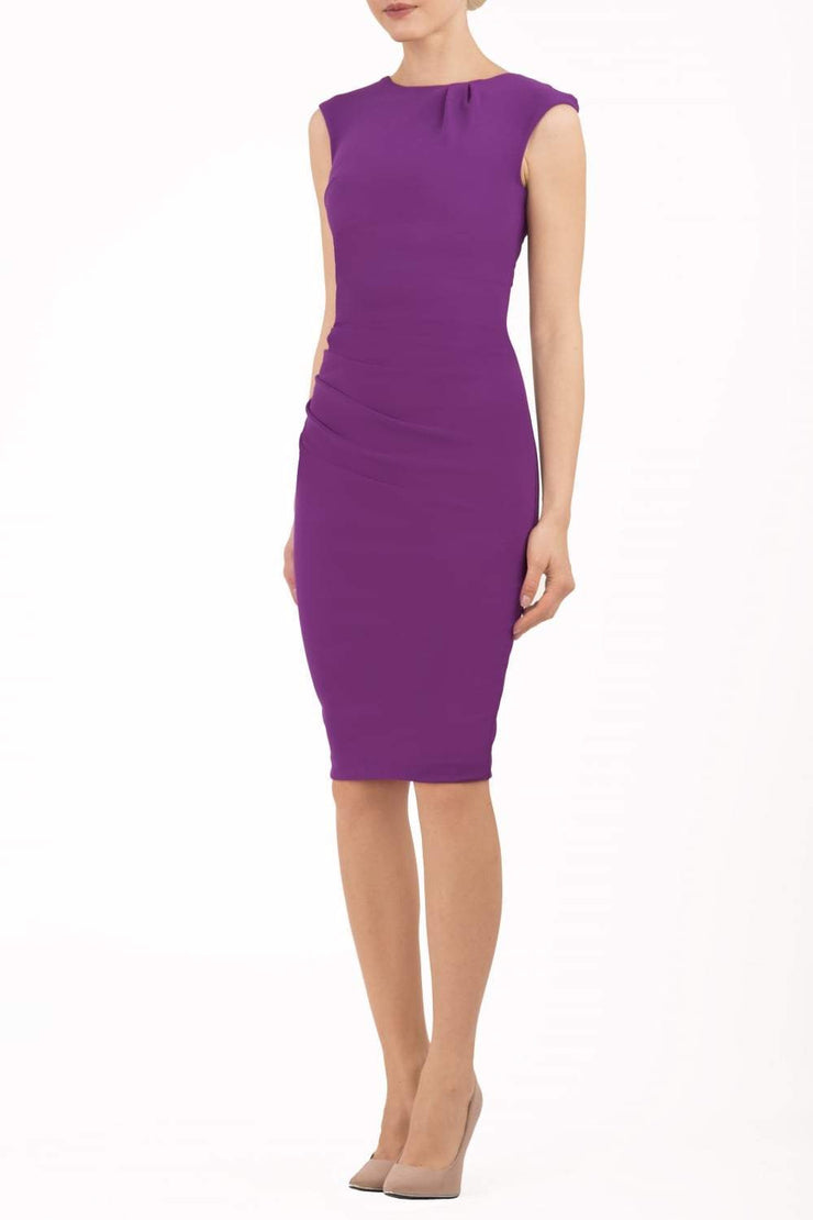 Model wearing the Diva Carla Pencil dress in ribbed super stretch fabric in violet purple front image