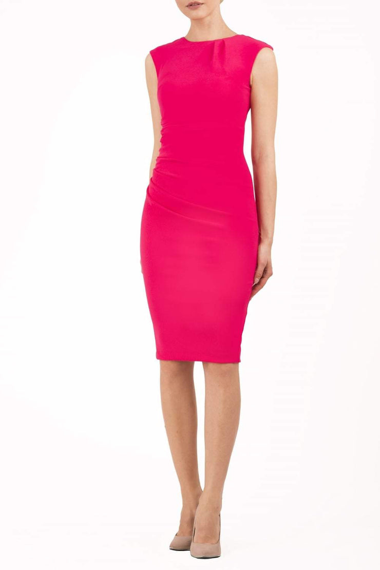 Model wearing the Diva Carla Pencil dress in ribbed super stretch fabric in paradise pink front image