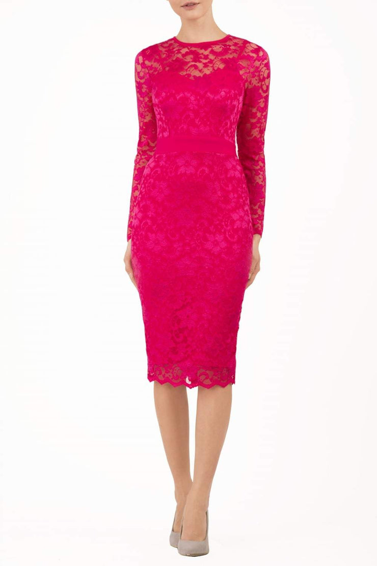 Model wearing the Diva Cherrie Lace Pencil dress with long sleeves and round neck in yarrow pink front image