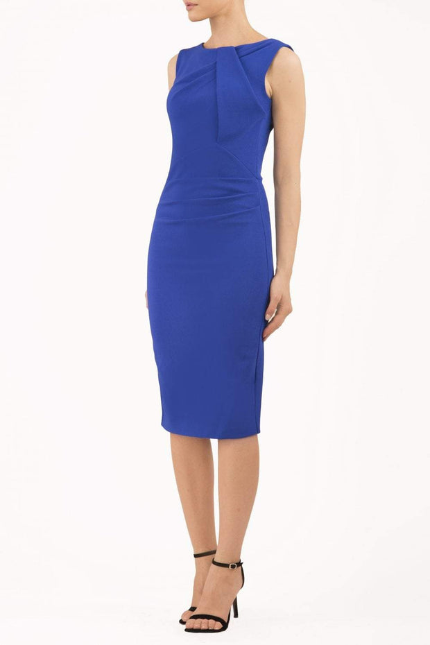 Model wearing the Diva Furlong dress in pencil dress design in royal blue front image