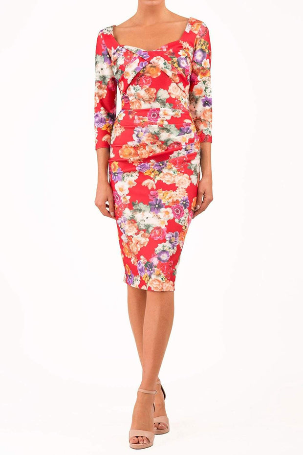 model wearing Symphony Marcella Red Summer Floral Sleeved Pencil dress in print front
