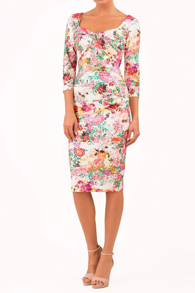 model wearing Symphony Marcella Tearose Floral Sleeved Pencil dress in print front