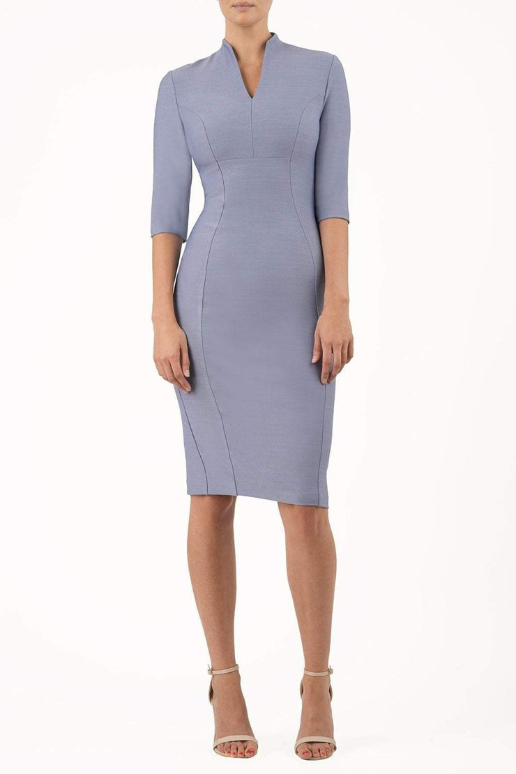 Model wearing the Seed Amalfi in pencil dress design in steel blue front image