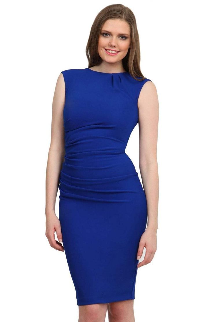 Model wearing the Diva Carla Pencil dress in ribbed super stretch fabric in cobalt blue front image