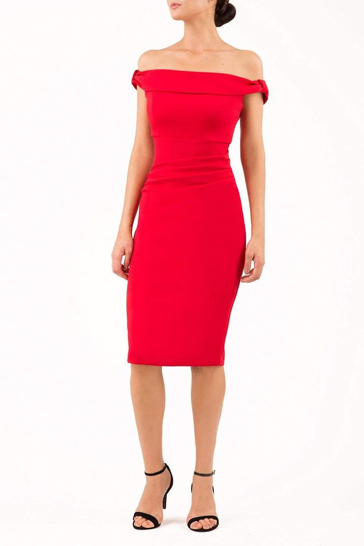 Model wearing the Diva Cloud Luxury Moss Crepe dress with cold shoulder design in scarlet red front image