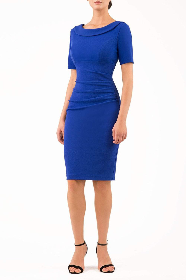 Model wearing the Diva Camille Marvel, pleat detail across front, fold at neckline in cobalt blue front image