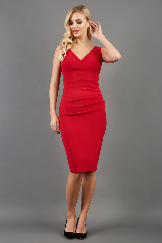 blonde model is wearing diva catwalk gathered banbury red pencil dress with no sleeve front