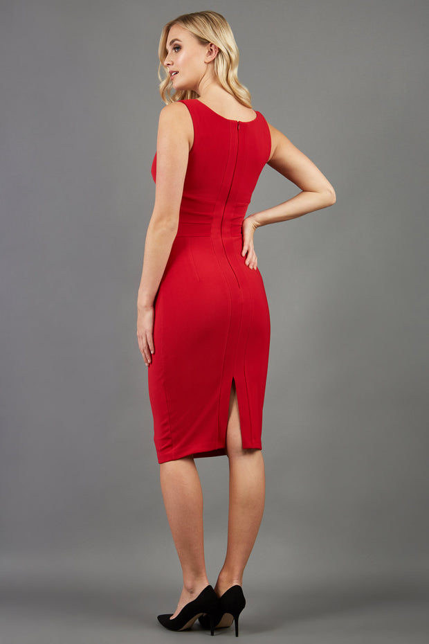 blonde model is wearing diva catwalk gathered banbury red pencil dress with no sleeve back