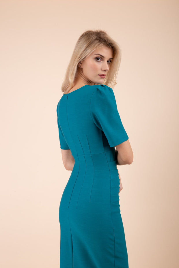Model wearing pencil short sleeve seed fitzrovia dress back image