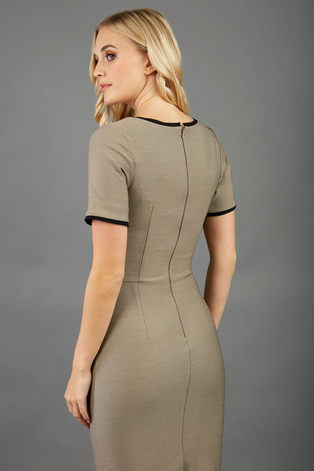 blonde model wearing seed albany contrasted pencil-skirt dress with short sleeves and pleating across the tummy with low square neckline and contrasted detail finishing in taupe brown back