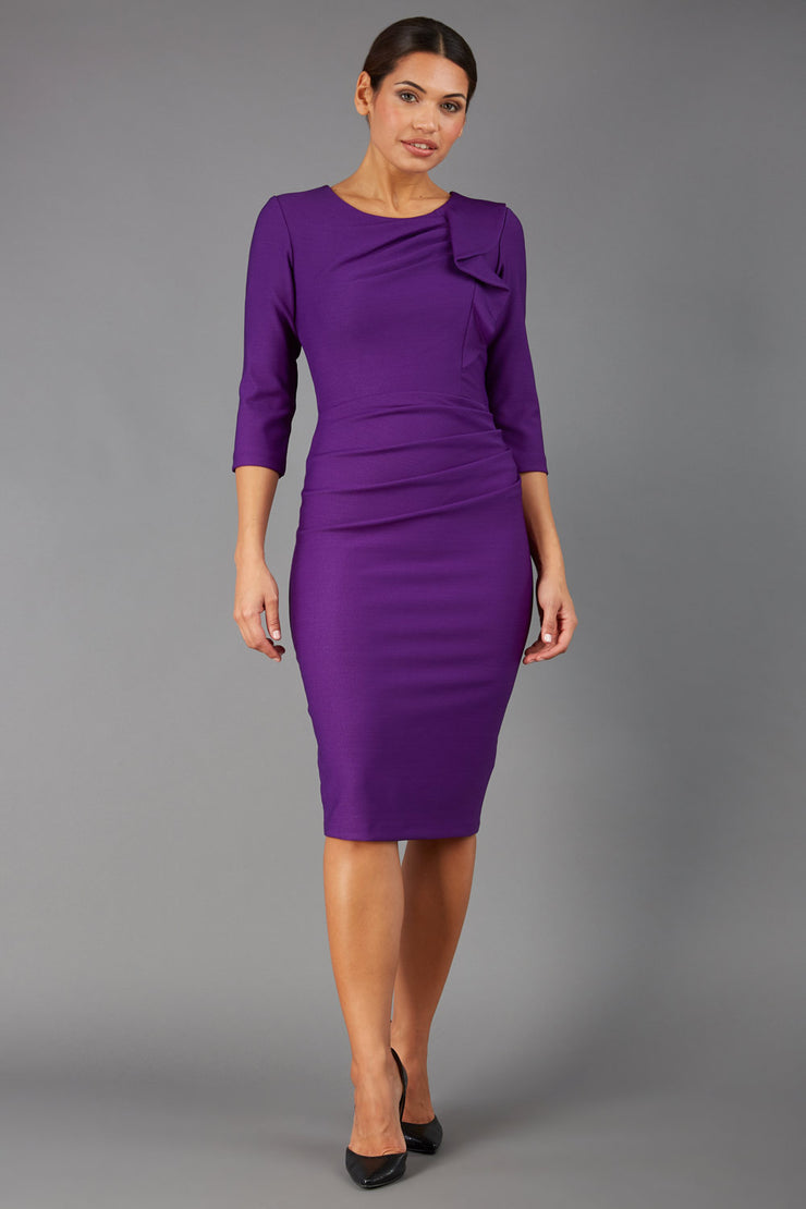 Model wearing the Seed in pencil dress design in imperial purple front image