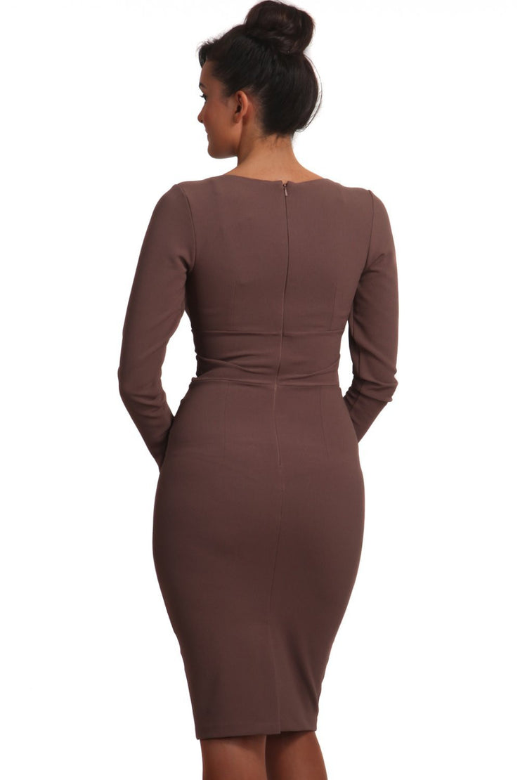 Model wearing the Diva Cynthia Pencil dress with pleating across the front in peppercorn brown back image