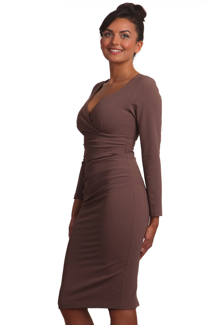 Model wearing the Diva Cynthia Pencil dress with pleating across the front in peppercorn brown front image