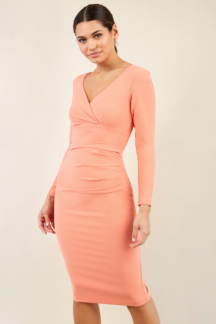 Model wearing the Diva Cynthia Pencil dress with pleating across the front front image