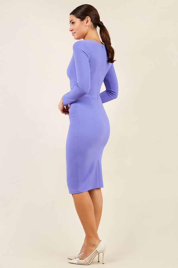 Model wearing the Diva Cynthia Pencil dress with pleating across back image