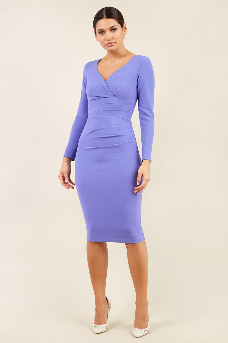 Model wearing the Diva Cynthia Pencil dress with pleating across the front in front image