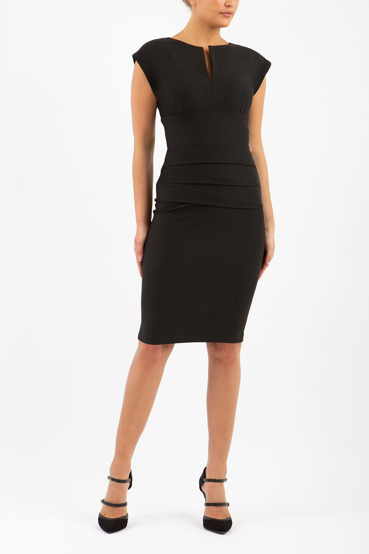 Model wearing the Diva Daphne Pencil with split neckline, sleeveless in black front image