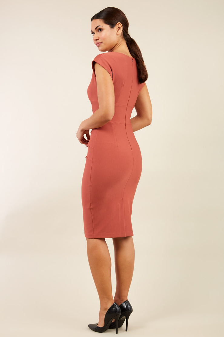 model wearing diva catwalk daphne sleeveless marsala brown  pencil dress with rounded neckline with split in the middle in back