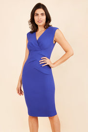 Model wearing the Diva Sylvia dress in pencil dress design in riviera blue front image