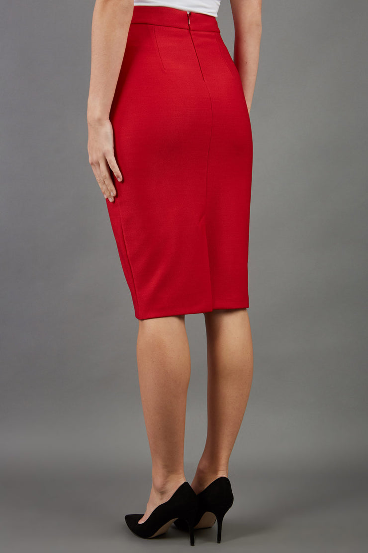 blonde model is wearing seed diva dawlish red pencil skirt front