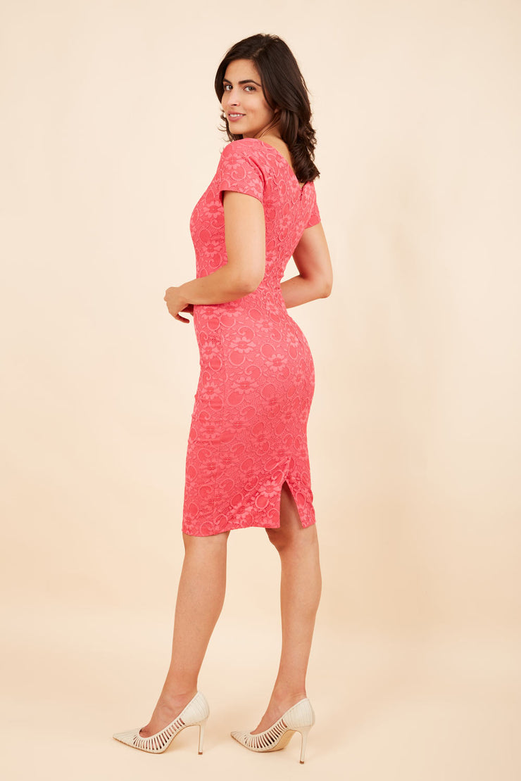 Model wearing the Diva Abberton Lace Sweetheart Neckline Pencil Dress in coral back
