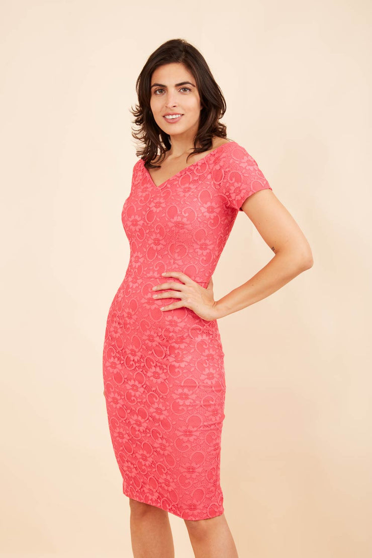 Model wearing the Diva Abberton Lace Sweetheart Neckline Pencil Dress in coral front