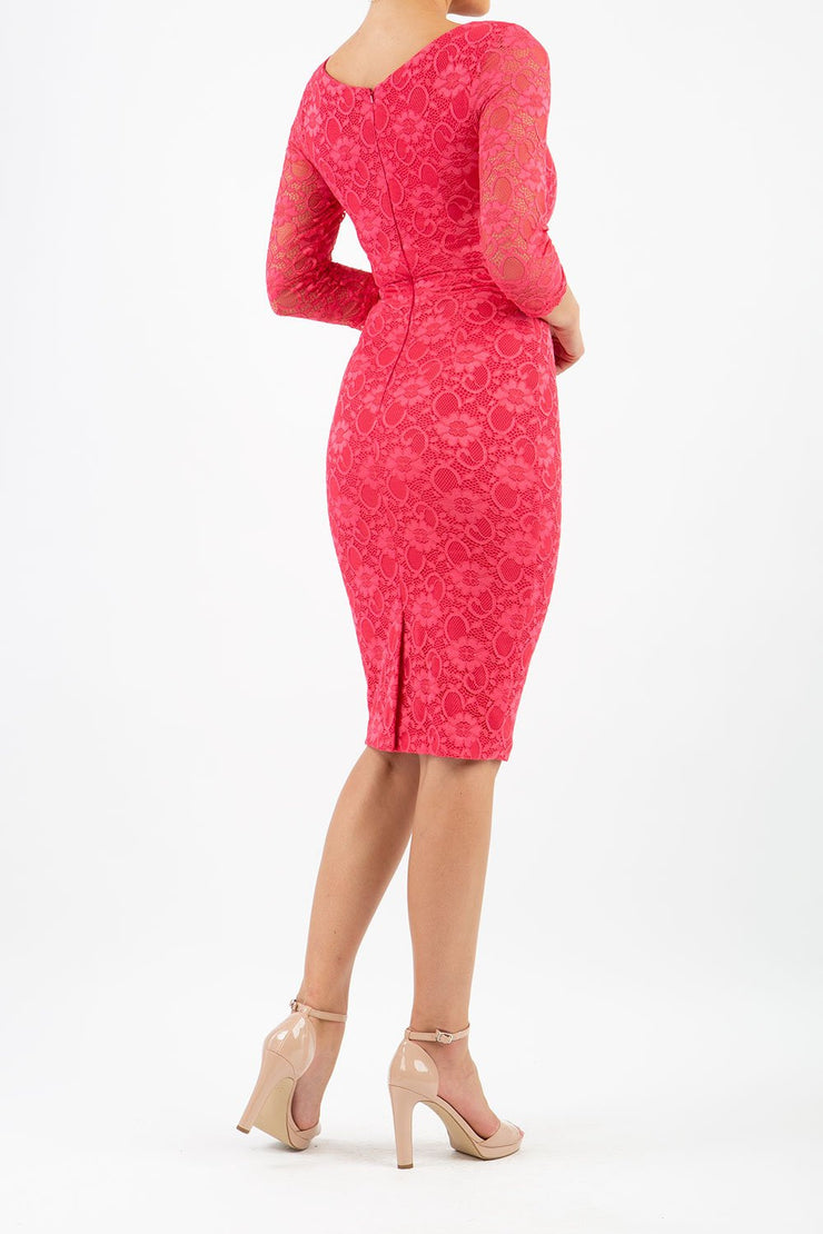 Model wearing Diva Bucklebury red Lace pencil dress with sleeves in ripple crepe and stretch lace fabric in coral lace front