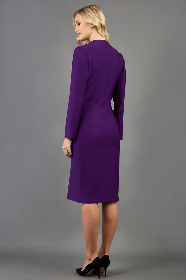 blonde model wearing the Diva Silverstone Coat with V neckline in imperial purple back image