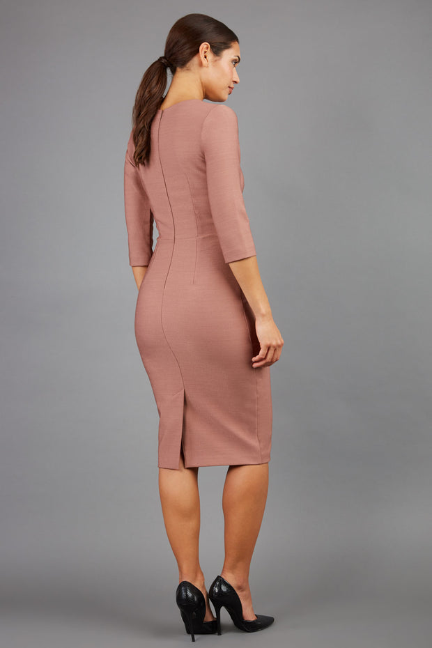 brunette model wearing seed diva catwalk milton sleeved pencil dress with a rounded neckline with a split in the middle in acorn brown back