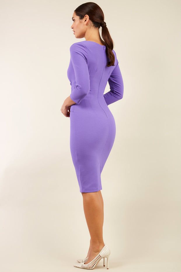 Model wearing the Diva Chelsea Pencil dress with V neckline and three-quarter sleeves in opulent violet back image