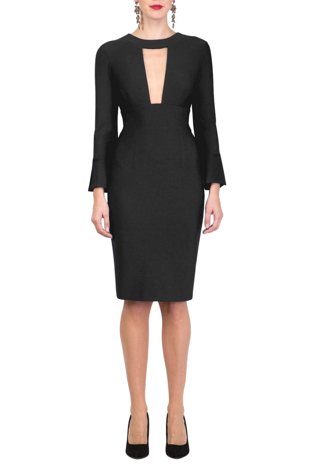 model is wearing diva catwalk fifi pencil skirt dress with three quarter flute sleeve and rounded neckline with a cut out at the front in black front