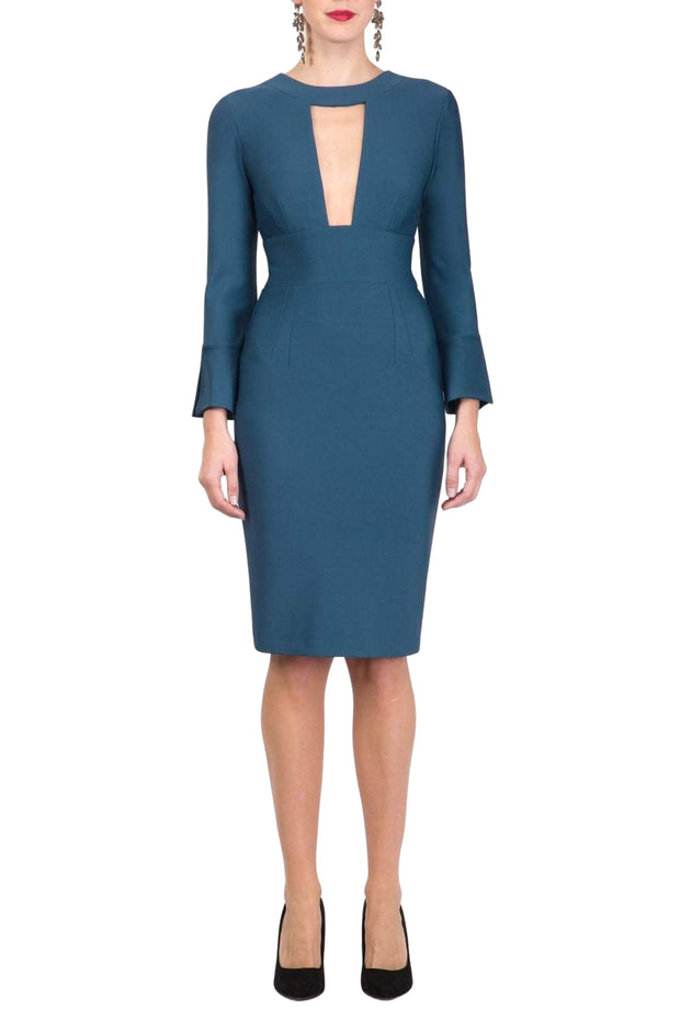 model is wearing diva catwalk fifi pencil skirt dress with three quarter flute sleeve and rounded neckline with a cut out at the front in glorious teal front
