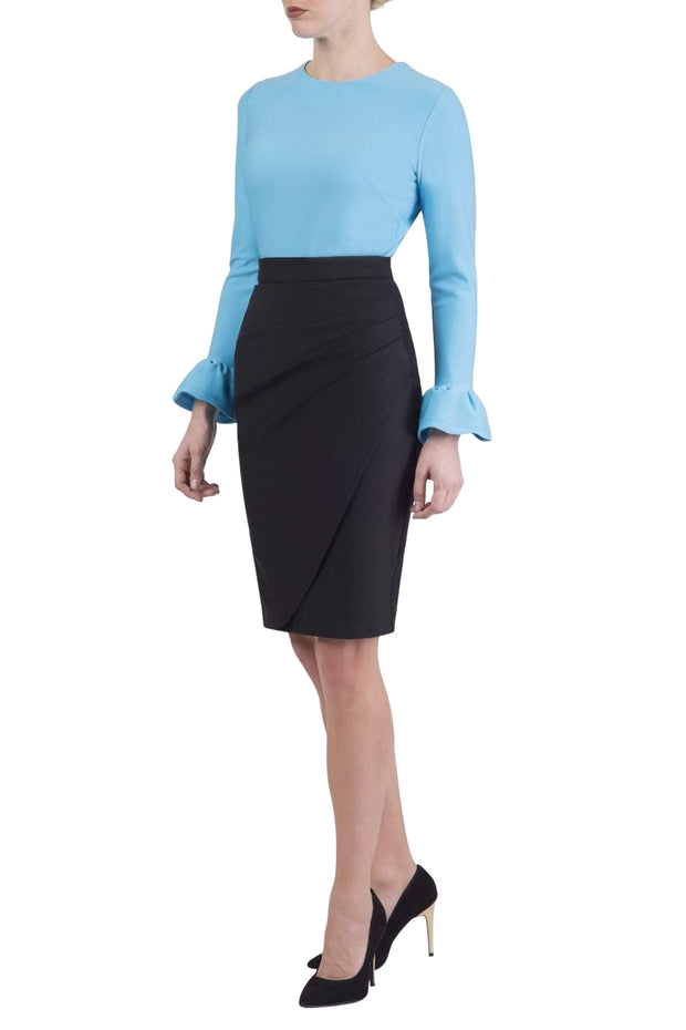 Model wearing the Diva Pacific top in sky blue colour front image