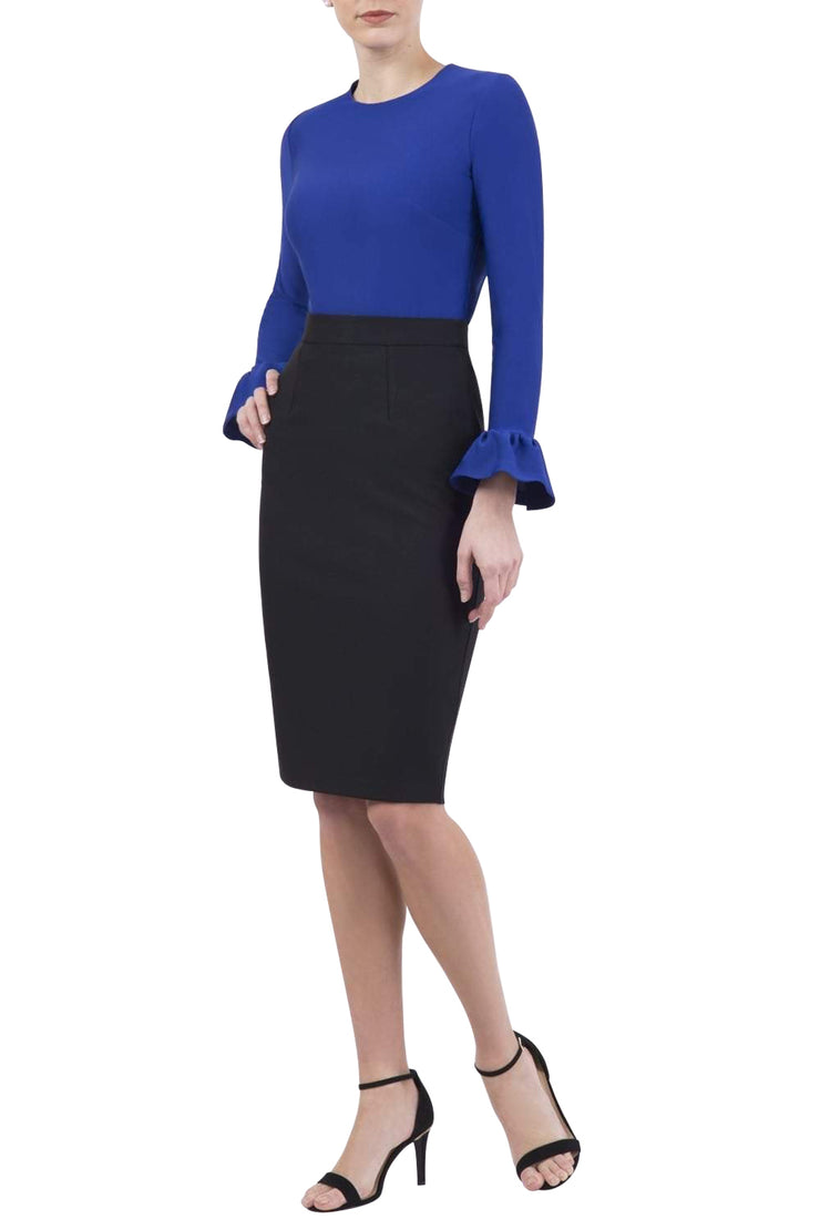 Model wearing the Diva Pacific top in cobalt blue colour front image