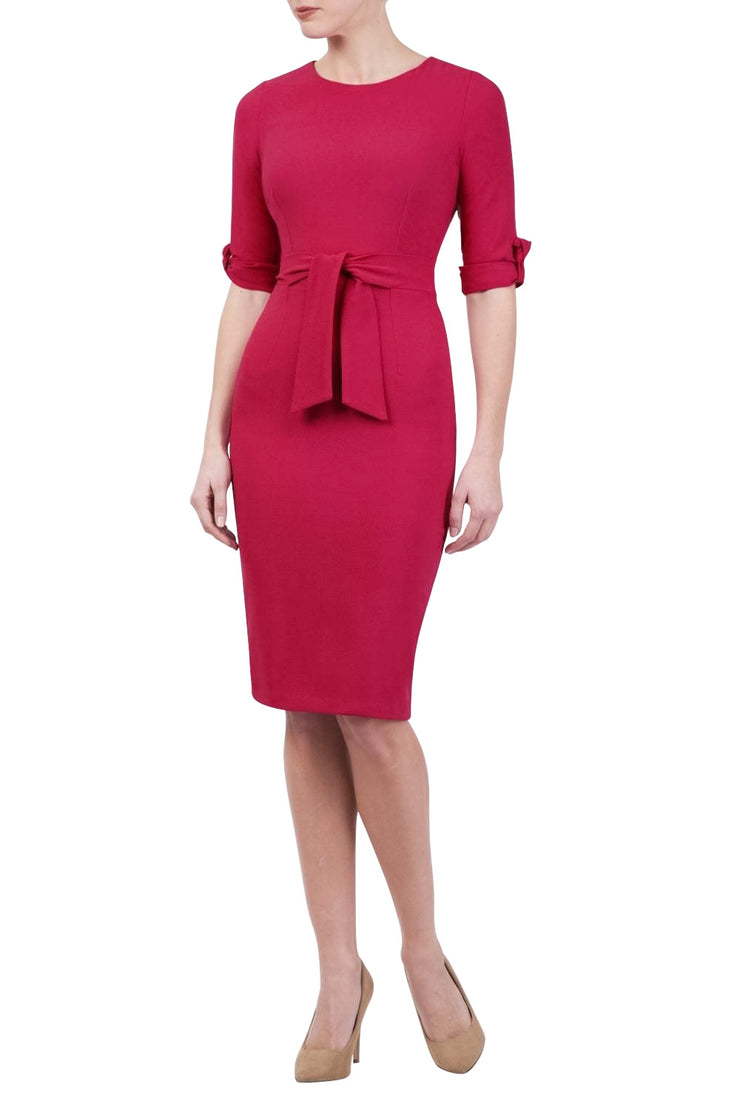 Model wearing the Diva Tryst dress in pencil dress design in ruby red front image
