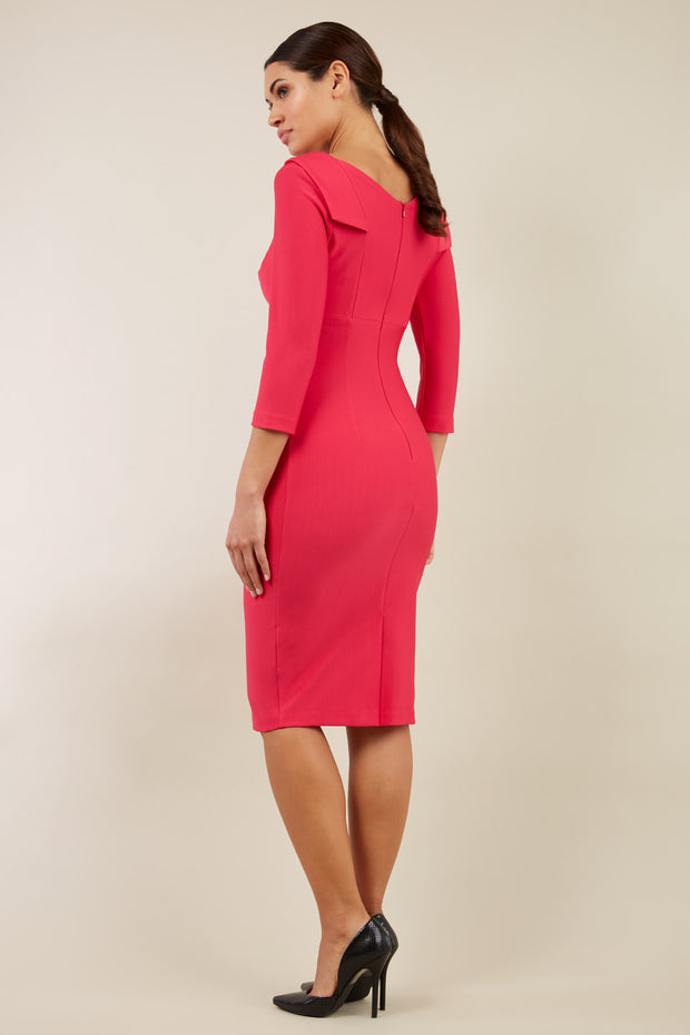 model wearing diva catwalk york pencil-skirt dress with sleeves and rounded folded collar and plearing across the tummy area in yarrow pink colour back