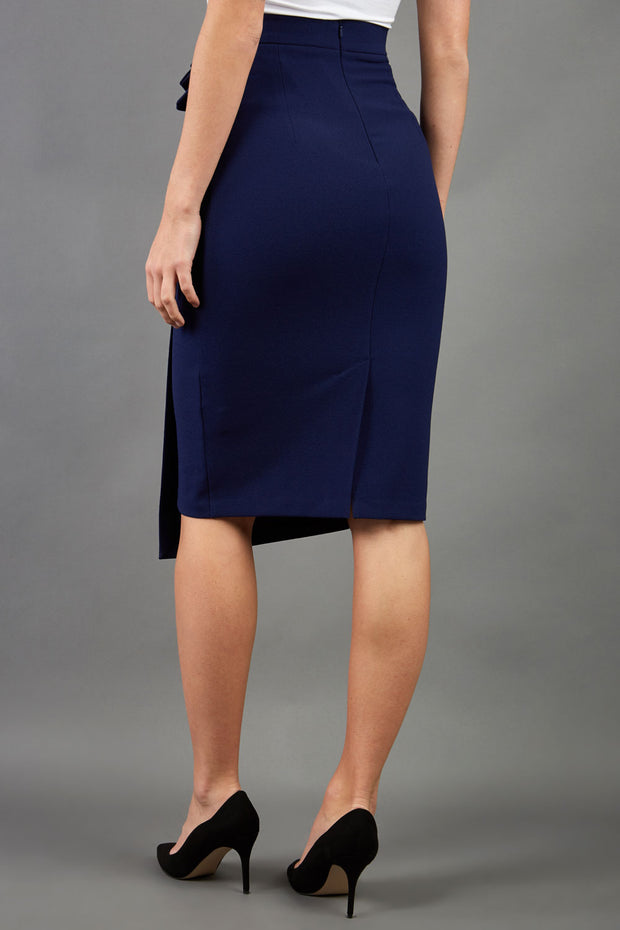 model is wearing diva catwalk antibe pencil asymmetric skirt with pleating at the front in navy back