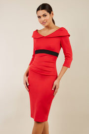 model wearing diva catwalk electric red pencil-skirt dress with 3 4 sleeves and pleated pencil skirt and oversized collar front
