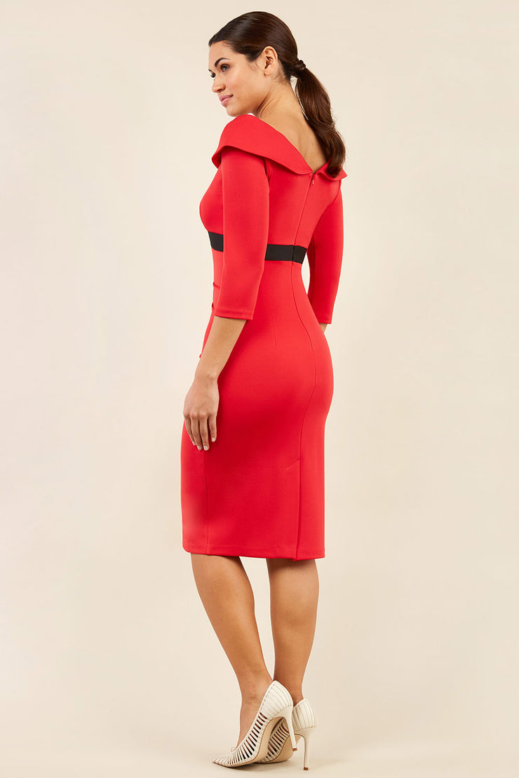 model wearing diva catwalk electric red pencil-skirt dress with 3 4 sleeves and pleated pencil skirt and oversized collar side