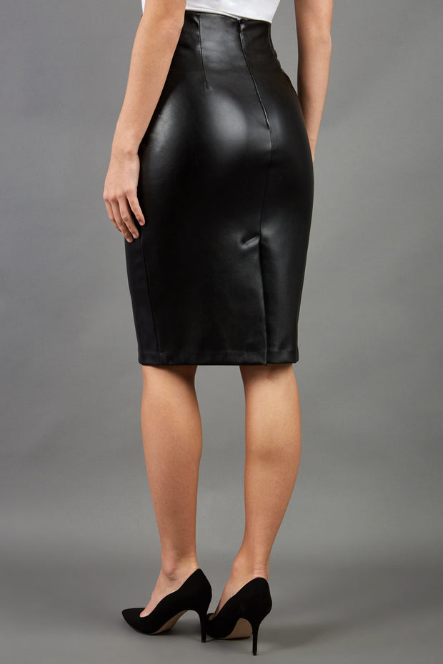 model wearing diva ashford faux leather pencil skirt in black back