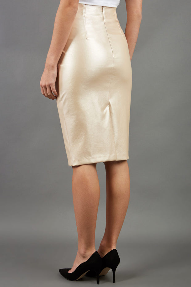 model wearing diva ashford faux leather pencil skirt in ivory back