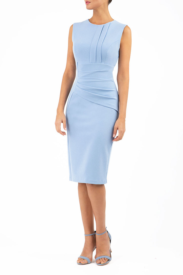 Model wearing the Diva Clara Pencil dress with vertical pleat detailing at bust sleeveless design in powder blue front image