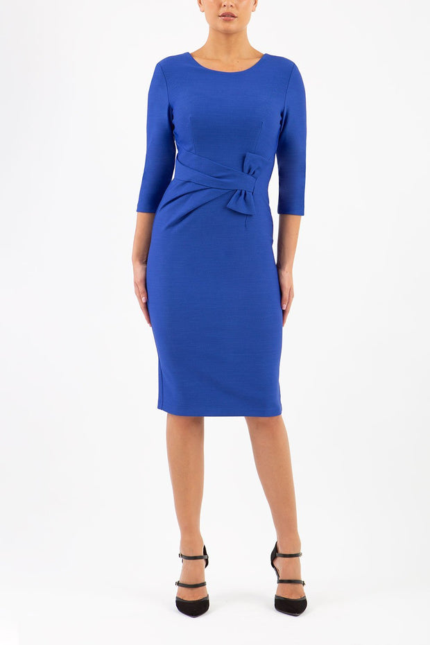Model wearing the Seed Andante in pencil dress design in monaco blue front image