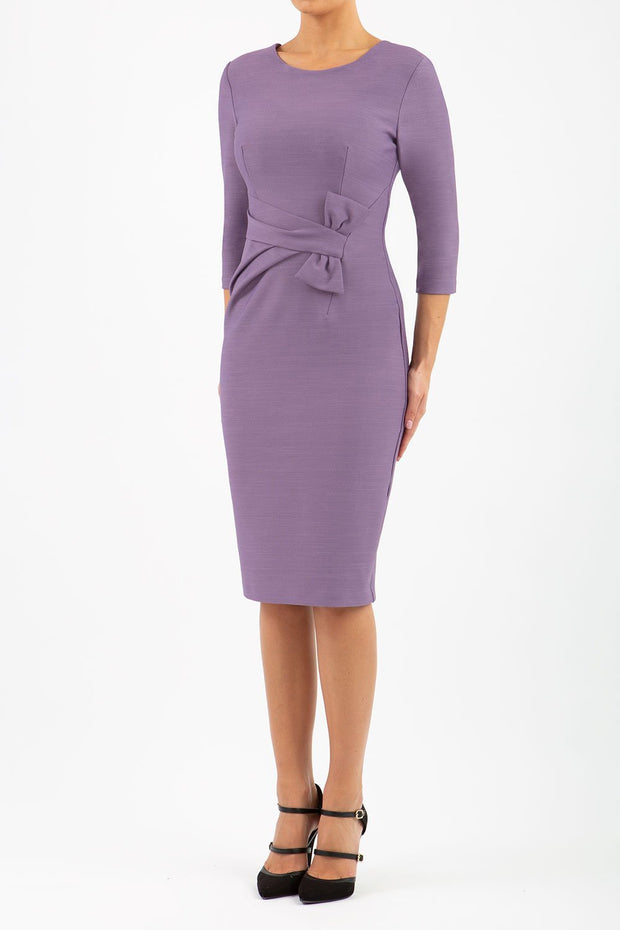 Model wearing the Seed Andante in pencil dress design in dusky lilac front image